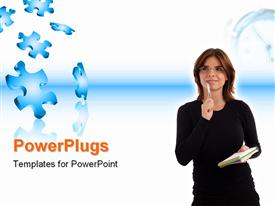 PowerPoint template displaying woman thinking and puzzle pieces