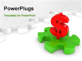 PowerPoint template displaying 3D Puzzle in green and a red dollar sign above it with puzzles