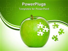 Puzzle green apple powerpoint template