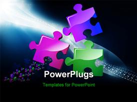 PowerPoint template displaying three color puzzle converging with nice wave of puzzles