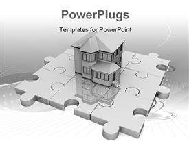 PowerPoint template displaying real estate house standing on jigsaw puzzle with abstract grey design