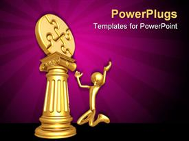 PowerPoint template displaying gold plated man kneels before jigsaw puzzle on gold pillar