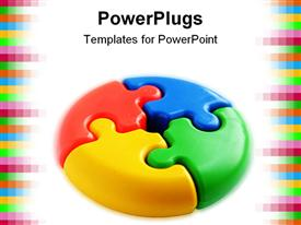 PowerPoint template displaying 3D puzzle pie chart with red, blue, yellow and green pieces, pixel border