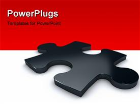 PowerPoint template displaying 3D glossy black color puzzle over the white color