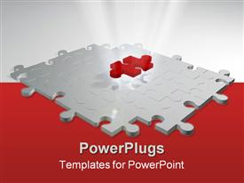 PowerPoint template displaying puzzle pieces. 3D rendering puzzle with volume light effect