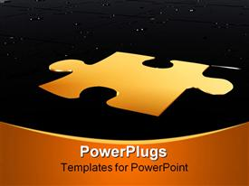 PowerPoint template displaying a puzzle piece in golden color with a number of black puzzle pieces