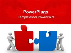 Two figures push a red and blue puzzle piece together powerpoint theme