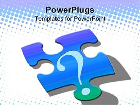 PowerPoint template displaying puzzle piece with question mark, problem solving, decision making