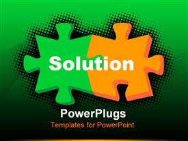 Two color 3D puzzle for solutions with black background powerpoint theme