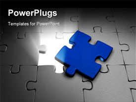 White jigsaw with a blue piece powerpoint template