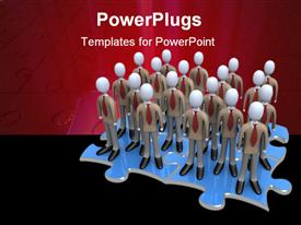 PowerPoint template displaying lots of corporately dressed characters standing on a blue chess piece