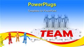 Four 3D people holding hands and puzzle pieces spelling the word team presentation background