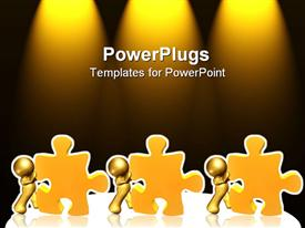 PowerPoint template displaying gold plated men pushing yellow jigsaw puzzle pieces on glowing background