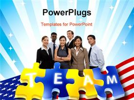 Puzzle with text Team isolated white background powerpoint design layout