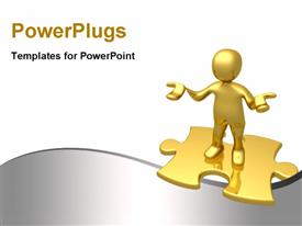 PowerPoint template displaying golden character standing on golden color 3D puzzle with nice grey color wave