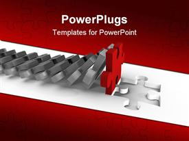 PowerPoint template displaying lots of grey colored puzzle pieces falling on a red one