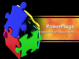 PowerPoint template displaying lots of colorful puzzles forming a house on a black background