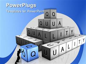 PowerPoint template displaying shadow of man stacking bricks to spell 'quality' with blue and white background