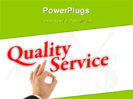Quality service concept with hand okay sign presentation background
