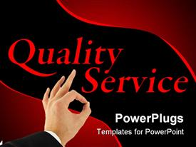 PowerPoint template displaying black and red quality customer service business background with hand making okay sign