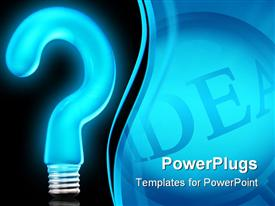Blue 3D bulb in query shape like idea presentation background