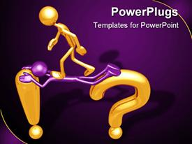PowerPoint template displaying a golden character walking on a bridge made of an exclamation mark, a question mark, and a purple character