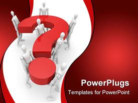 PowerPoint template displaying robots carrying 3D question mark symbol on white background