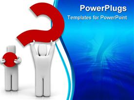 PowerPoint template displaying two white colored 3D human characters holding a red question mark