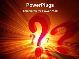 PowerPoint template displaying red question marks on orange and yellow light background