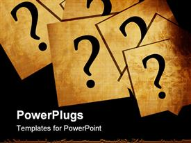 PowerPoint template displaying a number of question marks being put on different cards