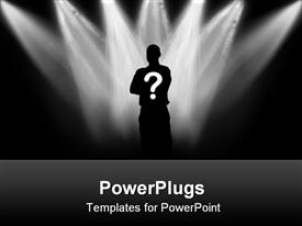 PowerPoint template displaying black silhouette of the person against background lanterns from above in the background.