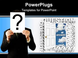 PowerPoint template displaying white open door with a man holding a question mark symbol