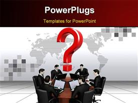 PowerPoint template displaying on the 3D depiction a command of six businessman's work with laptops behind a round table in the background.