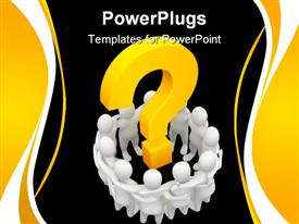 PowerPoint template displaying group of white 3D figures supporting each other in a circle with 3D yellow question mark in the center