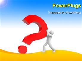 PowerPoint template displaying human character pushing a big red color question with blue color