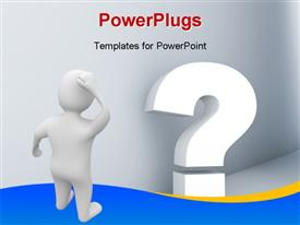 PowerPoint template displaying human character looking at the 3d question mark with grey walls