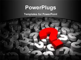 PowerPoint template displaying 3D red color question mark over a lot of other with black color
