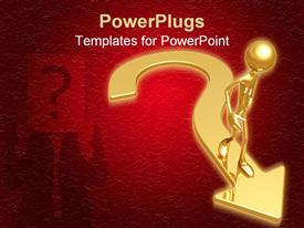 PowerPoint template displaying a person with a question mark and an arrow with reddish background