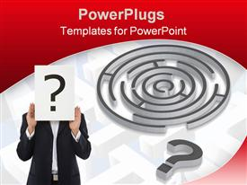 PowerPoint template displaying businessman holding a question mark