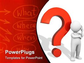 PowerPoint template displaying 3D Character is standing with red question mark