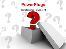 PowerPoint template displaying beautiful 3D question mark coming out of a box with question marks