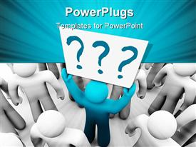 Blue person stands out in a crowd holding a sign with question marks on it powerpoint design layout