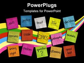 PowerPoint template displaying various colored sticky notes with words related to ethics and life