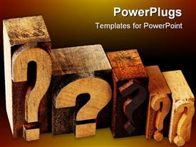 PowerPoint template displaying dilemma concept - 5 questions marks in vintage wooden letterpress printing blocks
