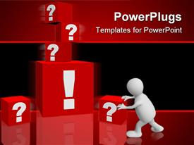 PowerPoint template displaying man pushing red blocks with ? and ! signs in red background