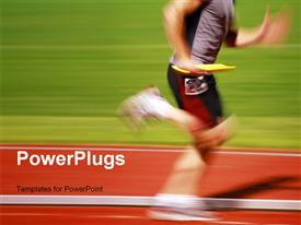 PowerPoint template displaying blurry runner in a relay race carries the baton to the next runner with green grass