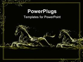 PowerPoint template displaying silhouettes of two running horses made of liquid gold on black
