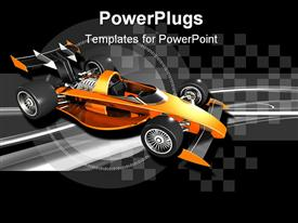 PowerPoint template displaying orange open-wheel race car placed onto a black and silver checkered background