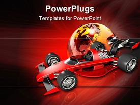 PowerPoint template displaying red open wheel race car over top of a glossy transparent earth in the background.
