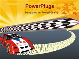 PowerPoint template displaying fast racing car illustration with nice starry glowing illustration